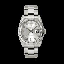 Rolex Men's White Gold Day-Date - President Silver Diamond Dial - 18K Fluted Bezel - Diamond Lugs - Oyster Bracelet 36 MM 118339