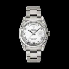 Rolex Men's White Gold Day-Date - President White Roman Dial - 18K Fluted Bezel - Diamond Lugs - Oyster Bracelet 36 MM 118339