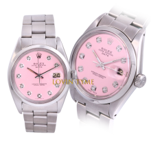 Rolex Stainless Steel Midsize Date - with Custom Pink Diamond Dial & Smooth Bezel On an Oyster Band