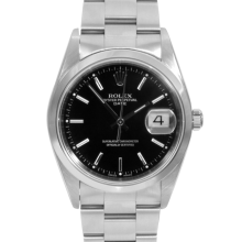 Rolex Mens Stainless Steel Date - 15200 Model with Black Stick Dial - Smooth Bezel - Oyster Band