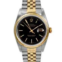 Rolex Mens Two Tone Datejust - Black Stick Dial & Fluted Bezel On A Jubilee Band 16013 Model