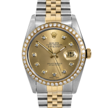 Rolex Mens Two Tone Datejust - 16013 Model with Custom Champagne Diamond Dial & Diamond Bezel on a Jubilee Band
