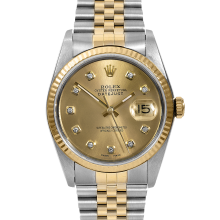 Rolex Mens Two Tone Datejust - 16013 Model with Custom Champagne Diamond Dial - Fluted Bezel - Jubilee Band