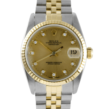 Rolex Mens Two Tone Datejust - Factory Champagne Diamond Dial Fluted Bezel On A Jubilee Band 16013 Model