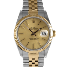 Rolex Mens Two Tone Datejust - Champagne Stick Dial & Fluted Bezel On A Jubilee Band 16013 Model