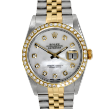 Rolex Two Tone Mens Datejust - with Custom Mother Of Pearl Diamond Dial & Diamond Bezel On A Jubilee Band 16013 Model