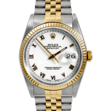 Rolex Mens Two Tone Datejust - 16013 Model with White Roman Dial - Fluted Bezel - Jubilee Band