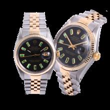Rolex Men's Two Tone Datejust - Custom Matte Black Emerald Baguette Dial - Fluted Bezel
