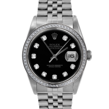 Rolex Mens Stainless Steel Datejust - with Custom Black Diamond Dial/Bezel - Jubilee Band - 16014 Model