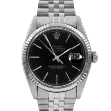 Rolex Mens Datejust - Stainless Steel Black Stick Dial & Fluted Bezel On A Jubilee Band 16014 Model