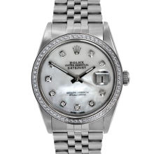 Rolex Mens Stainless Steel Datejust - with MOP Diamond Dial/Bezel - Jubilee Band - 16014 Model