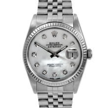 Rolex Mens Stainless Steel Datejust - 16014 Model with MOP Diamond Dial - Fluted Bezel - Jubilee Band