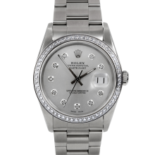 Rolex Stainless Steel Men's Datejust - with Custom Silver Diamond Dial & Diamond Bezel On An Oyster Band 16014 Model