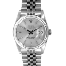 Rolex Mens Datejust - Stainless Steel Silver Stick Dial & Fluted Bezel On A Jubilee Band 16014 Model