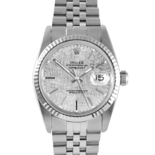 Rolex Mens Datejust - Stainless Steel Silver Linen Stick Dial & Fluted Bezel On A Jubilee Band 16014 Model