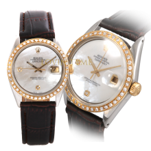 Rolex Men's Two Tone Datejust - Custom Mother of Pearl 2 Stone Diamond Dial - Diamond Bezel