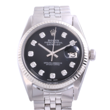 Rolex Stainless Steel Midsize Datejust - with Custom Black Diamond Dial & Fluted Bezel On a Jubilee Band - 1601 Non-Quickset Model