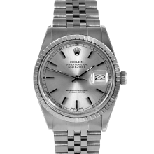 Rolex Mens Datejust - Stainless Steel Silverstick Dial & Engine Turn Bezel On A Jubilee Band 16030 Model