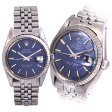 Rolex Stainless Steel Mens Datejust with A Blue Linen Wave Stick Dial & Engine Turn Bezel On a Jubilee Band - 1603 Non-Quickset Model