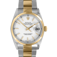 Rolex Mens Two Tone Datejust - White Stick Dial & Smooth Bezel On An Oyster Band 16203 Model
