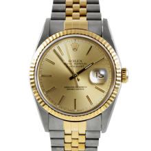 Rolex Mens Two Tone Datejust - Champagne Stick Dial & Fluted Bezel On A Jubilee Band 16233 Model