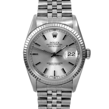 Rolex Mens Datejust - Stainless Steel Silver Stick Dial & Fluted Bezel On A Jubilee Band 16234 Model