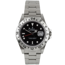 Rolex Mens Explorer II - Stainless Steel Engraved Bezel Black Dial 16570 40MM Display Model