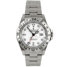 Rolex Mens Bezel Engraved Explorer 2 - Stainless Steel White Dial 16570 40MM Display Model