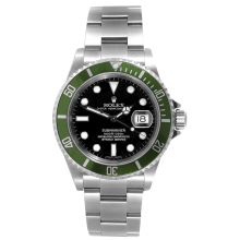 Rolex Mens Submariner - Stainless Steel Black Dial & Green Bezel 16610V Anniversary Edition