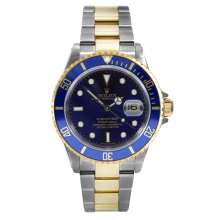 Rolex Mens Two Tone Submariner - Blue Dial & Engraved Bezel 16613 Late 2000s Model