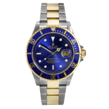 Rolex Mens Two Tone Submariner - Blue Dial And Bezel 2000's Model 16613