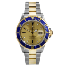 "Rolex Mens Two Tone Submariner - Champagne Sapphire Serti Dial & Blue Bezel 16613 ""No Holes"" Case 2005 Model"
