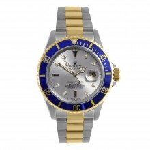 Original Rolex Mens 18K/SS Submariner - Factory Silver Serti Diamond Dial - Oyster Band -16613