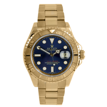 Rolex Men's 18K Yellow Gold Yacht-Master - Full Size With A Blue Dial 40MM Model 16628