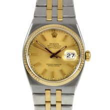 Rolex Mens Two Tone Quartz Datejust - with Champagne Stick Dial- 17013 Model