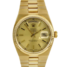 Rolex Mens 18K Yellow Gold Day Date President - Oyster Quartz Champagne Stick Model 19018