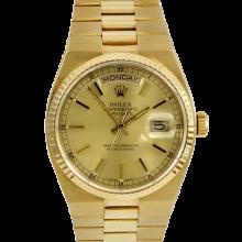 Rolex Mens 18K Yellow Gold Day Date President - Oyster Quartz Champagne Stick Model 19018
