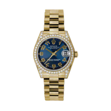 Rolex Yellow Gold President - Blue Concentric Arabic Dial - Diamond Bezel/Lugs 31 MM 178158