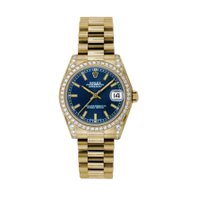 Rolex Yellow Gold President - Blue Index Dial - Diamond Bezel/Lugs 31 MM 178158