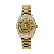 Rolex Yellow Gold President - Champagne Concentric Arabic Dial - Diamond Bezel/Lugs 31 MM 178158