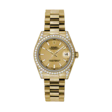 Rolex Yellow Gold President - Champagne Index Dial - Diamond Bezel/Lugs 31 MM 178158