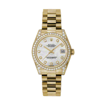 Rolex Mens Midsize Yellow Gold President - Mother of Pearl Diamond Dial - Diamond Bezel/Lugs 31 MM 178158