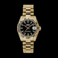 Rolex Yellow Gold President - Black Index Dial - Fluted Bezel - Diamond Lugs 31 MM 178238