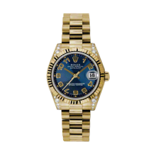 Rolex Yellow Gold President - Blue Concentric Arabic Dial - Fluted Bezel - Diamond Lugs 31 MM 178238