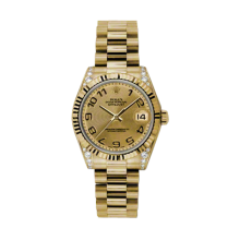 Rolex Yellow Gold President - Champagne Concentric Arabic Dial - Fluted Bezel - Diamond Lugs 31 MM 178238