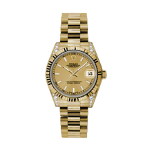 Rolex Yellow Gold President - Champagne Index Dial - Fluted Bezel - Diamond Lugs 31 MM 178238