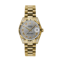 Rolex Yellow Gold President - Gray Roman Dial - Fluted Bezel - Diamond Lugs 31 MM 178238