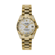 Rolex Yellow Gold President - Mother of Pearl Diamond Dial - Fluted Bezel - Diamond Lugs 31 MM 178238