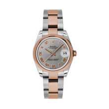 Rolex Mens Two Tone Midsize Datejust - Rose Gold Gray Roman Dial - 18K Domed Bezel - Oyster Bracelet 31 MM 178241