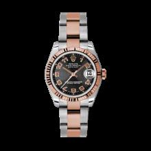 Rolex Mens Two Tone Midsize Datejust - Rose Gold Black Concentric Arabic Dial - 18K Fluted Bezel - Oyster Bracelet 31 MM 178271